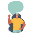 cheerful man with speech bubble vector image vector image