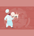 chef cook hold octopus smiling cartoon restaurant vector image vector image