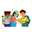 children traveling - colorful flat design style vector image vector image
