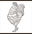 cock coloring page coloring book chicken vector image vector image