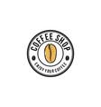 coffee shop with coffee bean logo design vector image
