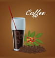 color poster glass cup of iced coffee and beans vector image