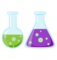 colorful cartoon science test tube icon set vector image