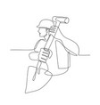 construction worker spade continuous line vector image vector image