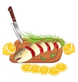 cooking and cutting fresh fish vector image vector image