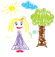 Crayon pained girl with flower