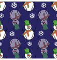 Cute snowmen and snowflakes on a dark blue