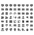 E learning and educated online icon set solid or