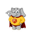 elephant character a superhero in a red cloak vector image vector image