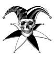 engraved human skull full face in a joker hat vector image