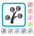 euro technology tree framed icon vector image vector image