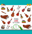 find one of a kind game with musical instruments vector image vector image