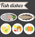 fish dishes vector image