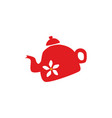 flat ceramic tea kettle silhouette icon vector image