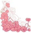 Floral background with hand draun flowers vector image
