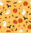 fun hand drawn halloween seamless pattern cute vector image vector image
