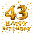 golden number 43 forty three made of inflatable vector image vector image