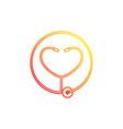 heart stethoscope logotype linear medical vector image