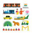 india transportation and animals objects icons set vector image vector image