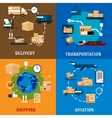 International delivery and logistic flat icons vector image vector image