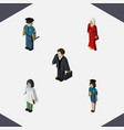isometric people set of female investor doctor vector image vector image