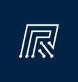 letter r font maze italic geometric vector image