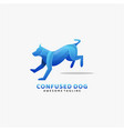 logo confused dog gradient colorful style vector image vector image