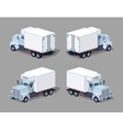 Low poly white truck refrigerator vector image vector image