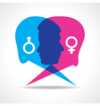 Male and female face make speech bubble vector image