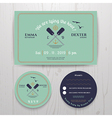 Nautical twin paddle wedding invitation and RSVP vector image vector image