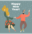 new year greeting card with funny dancing couple vector image vector image