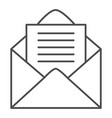 opened envelope thin line icon mail letter vector image vector image