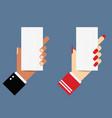 paper in hands vector image vector image