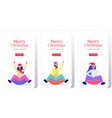 people in santa hats sledding on snow rubber tube vector image