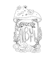 Photo album cover design in coloring book page vector image vector image