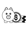 pig with coins isolated icon vector image
