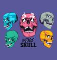 pop art style skulls set vector image vector image