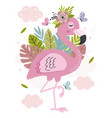 poster with beautiful pink flamingo vector image vector image