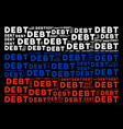 russia flag collage of debt word items vector image vector image