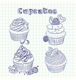 scetch cupcake sheet background vector image vector image