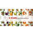 seamless fruit pattern set repeating fruit vector image