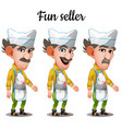 set emotions mustachioed meat seller vector image