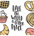 set of bakery elements and handwritten lettering vector image