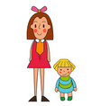 two girls of a cute little girl doll vector image