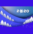 2020 paper new year sign on winter blue holiday vector image vector image