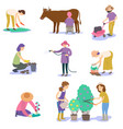 a set of farmers planting a crop vector image vector image