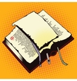 An old book with a blank sheet of paper vector image