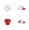 Baseball accessories icons vector image