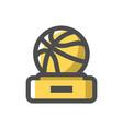 basketball award gold cup icon cartoon vector image