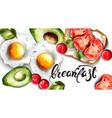 breakfast eggs avocado and toast fresh vector image vector image